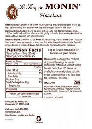monin hazelnut syrup nutrition facts