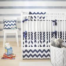 blue chevron nursery bedding in nursery