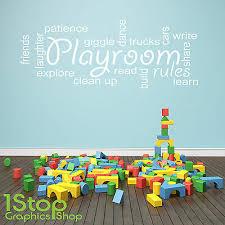 Playroom Rules Wall Sticker Quote Kids Bedroom Nursery Wall Art Decal X220 Ebay