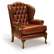 queen anne leather wing chair house
