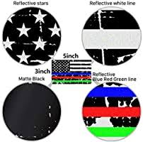 Amazon Com Creatrill Reflective Distressed Thin Blue Red Green Line Decal Matte Black 2 Pairs 3x5 In American Usa Flag Decal Sticker For Car Truck Hard Hat Support Police Fire Officer Military