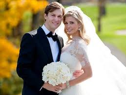 Jared Kushner with his wife Ivanka Trump in a wedding ceremony