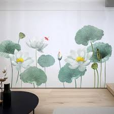 Big Lotus With Leaf Wall Sticker Fresh Green Planting Wall Decal Natural Botany Wall Mural Living Room Wall Decor Greenery Peel Stick Thefuns On Artfire