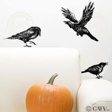 Amazon Com Halloween Crow Raven Set Of 3 Vinyl Lettering Decal Home Decor Wall Art Sticker Birds Home Kitchen