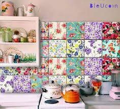 Tile Wall Decal Floral Mix 11 Designs X 4 44pcs Floral Tiles Decor Tile Decals