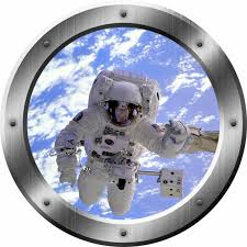 Zoomie Kids Spaceman 3d Outer Space Porthole Astronaut For Kids Wall Decal Wayfair