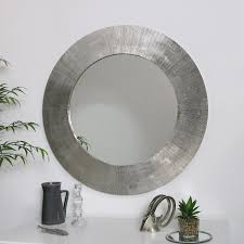 large round silver wall mirror 88cm x