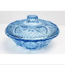 light blue glass candy dish trinket box