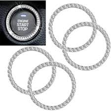 Amazon Com Chrystal Bling Ring Emblem Sticker Zone Tech Rhinestone Start Engine Ignition Button Car Key Knob Interior Bling Push Button Auto Decorative Decal Unique Silver Sparkly Vehicle Rings Woman Car Acc Automotive