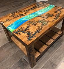 wood resin table wood table