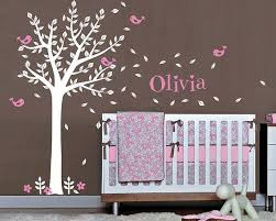 Baby Nursery Vinyl Wall Decals One Color Tree And Birds With Custom Name Wall Decal Set Nursery Wall Decals Tree Wall Decal Nursery Wall Decals Tree