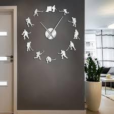 Hockey Wall Hanging Sport Wall Art Stickers Diy Large Wall Clock Wish
