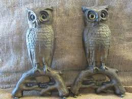 set cast iron owl fireplace andirons