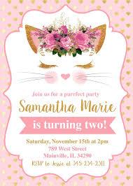 Cat Invitation Kitten Invitation Pink Gold Kitten Birthday