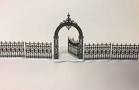 Department 56 Victorian Wrought Iron Fence And Gate Church Accessories Miniature Black Fence Wrought Iron Fences Wrought Iron Iron Fence