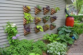living wall garden out of cone planters