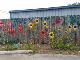 Portion Of Fence Mural With Poppies Sunflowers And Birds Painted By Chris Comeaux View 1 Garden Mural Garden Fence Art Fence Art