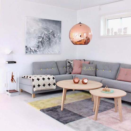 """Resultado de imagem para rose gold na sala de estar"""""""