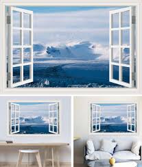 Snowy Mountain Scene 3d Full Colour Window Home Wall Art Stickers Mural Decal Home Garden Decor Decals Stickers Vinyl Art