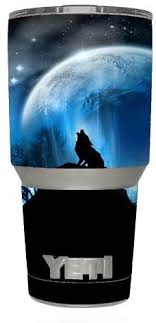 Amazon Com Skin Decal Vinyl Wrap 6 Piece Kit For Yeti 30 Oz Rambler Tumbler Cup Howling Wolf Moon