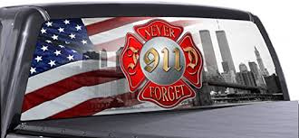 Amazon Com Vuscapes Fire Fighter 911 3 Rear Window Truck Graphic Decal Suv View Thru Vinyl Automotive