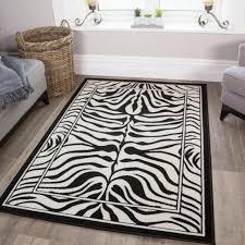 modern black ivory zebra print rug