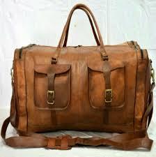 ph058 vintage leather duffle bag