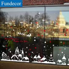 Fundecor Diy White Snow Town Christmas Wall Stickers Window Glass Festival Decals Murals Christmas Decorations For Home Decor Decorations For Home Christmas Wall Stickerswall Sticker Aliexpress