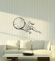 Vinyl Wall Decal Volleyball Player Ball Sports Girl Beach Game Sticker Wallstickers4you
