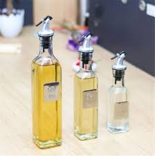 glass long neck olive oil bottle