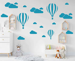Amazon Com Giant Removable Vinyl 3d Hot Air Balloons With Clouds Wall Decals Diy Wall Stickers Nursery Decor Kids Bedroom Art Decoration Girls Rooms Decal Child Sticker Home Walls Decal White D952 Teal