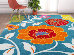 Amazon Com Well Woven Modern Rug Daisy Flowers Blue 5 X7 Floral Accent Area Rug Entry Way Bright Kids Room Kitchen Bedroom Carpet Bathroom Soft Durable Area Rug Furniture Decor