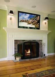 fireplace mantel with tv mounted