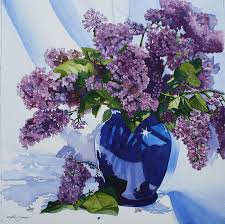 Lilacs in vase Painting by Tina Sander