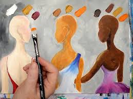 to mix 3 skin tones in acrylic painting