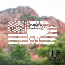 Full Body Elk Decal American Flag Decal Hunting Decal Etsy