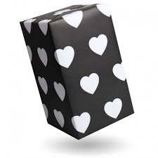 gift wrap big white hearts on black