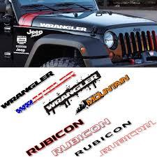 2pcs Cool Vinyl Decals For Jeep Rubicon Wranngler Unlimited Tj Jk Jl Letter Character Engine Hood Bonnet Cover Sticker Refit Car Stickers Aliexpress