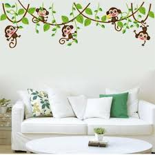 Monkey Tree Birds Wall Stickers Kids Nursery Art