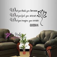 Amazon Com Wall Vinyl Decal Home Decor Art Sticker Buddha Quote What You Think You Become What You Feel You Attract Yoga Living Room Bedroom Room Removable Stylish Mural Unique Design 592 Home