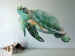 Sea Turtle Wall Decal Watercolor Wall Sticker Ocean Decal Etsy Turtle Wall Decals Watercolor Fabric Sea Turtle