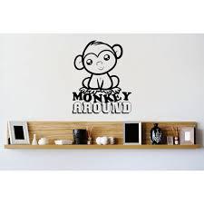 Custom Wall Decal Vinyl Sticker Monkey Around Kids School Daycare Playroom Boy Girl Image Quote Mural 12x12 Walmart Com Walmart Com