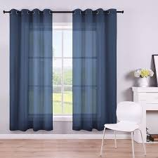 Amazon Com Koufall Navy Curtains 63 Inch Length For Boys Room Decor Set Of 2 Panels Grommet Semi Voile Window Drapes Navy Blue Sheer Curtains For Living Room Kids Bedroom Summer 52x63 Long
