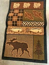bath rug moose rustic lodge cabin decor