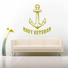 Cool Navy Veteran Anchor Vinyl Car Window Decal Sticker
