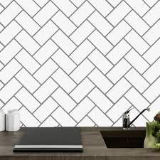 Herringbone Tile Backsplash Wall Decal
