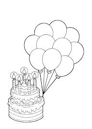 Kleuren Nu Taart Met 5 Kaarsjes En Ballonnen Kleurplaten