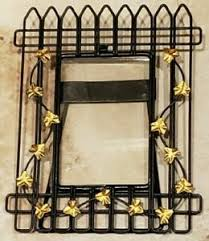 Black Metal Fence W Gold Leaves 8 5 X 7 Picture Frame Ebay