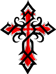 Black Tribal And Red Cross Tattoo Design