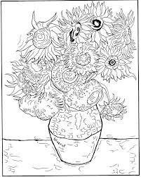 Kleurplaat Vincent Van Gogh Zonnebloemen 1888 Kleurplaten Van